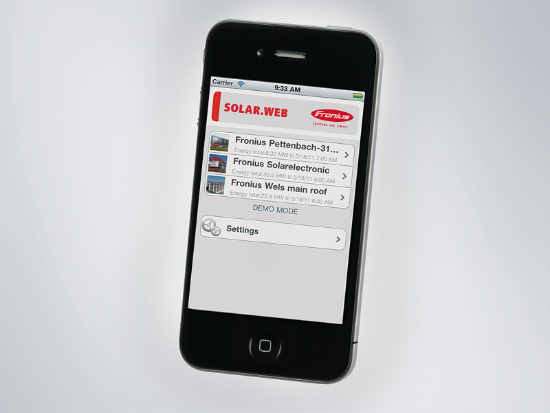 Fronius Solar.web App for smartphones